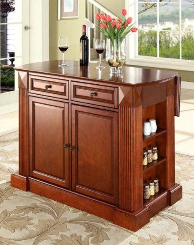 Crosley Furniture Drop Leaf Breakfast Bar Top Kitchen Island in Classic Cherry Finish, Constructed of solid hardwood and wood veneers, this kitchen island is designed for longevity. The handsome raised panel doors and drawer fronts provide the ultimate in style to dress up any culinary ..., #Home & Garden, #Dining Room Furniture
