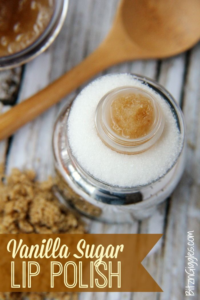Vanilla Sugar Lip Polish - An easy to make DIY lip scrub that is absolutely delicious and leaves your lips smooth and kissable - a perfect foundation for lip gloss or lipstick!