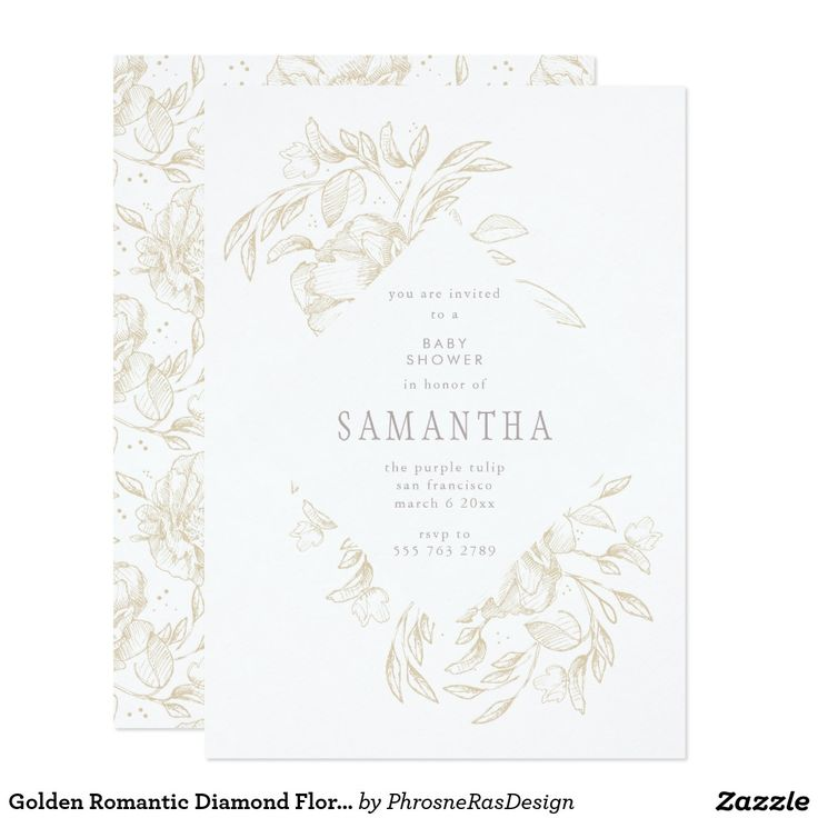 Golden Romantic Diamond Floral Frame Invitation #zazzle #invitation #stationery #tabletop #flowers #floral #organic #original #illustration #designer #suite #elegant #stylish #phrosneras #phrosnerasdesign #calligraphy