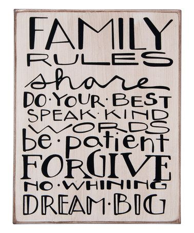 This 'Family Rules' Box Sign is perfect! #zulilyfinds