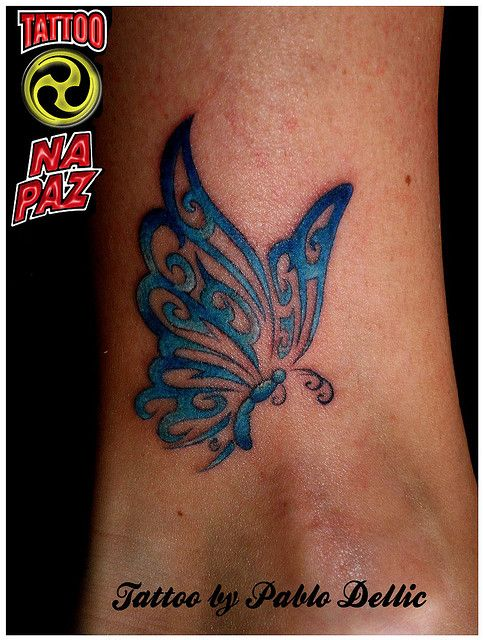 Tatuagem de Borboleta Tribal Azul - Butterfly Tattoo by Pablo Dellic by Pablo…