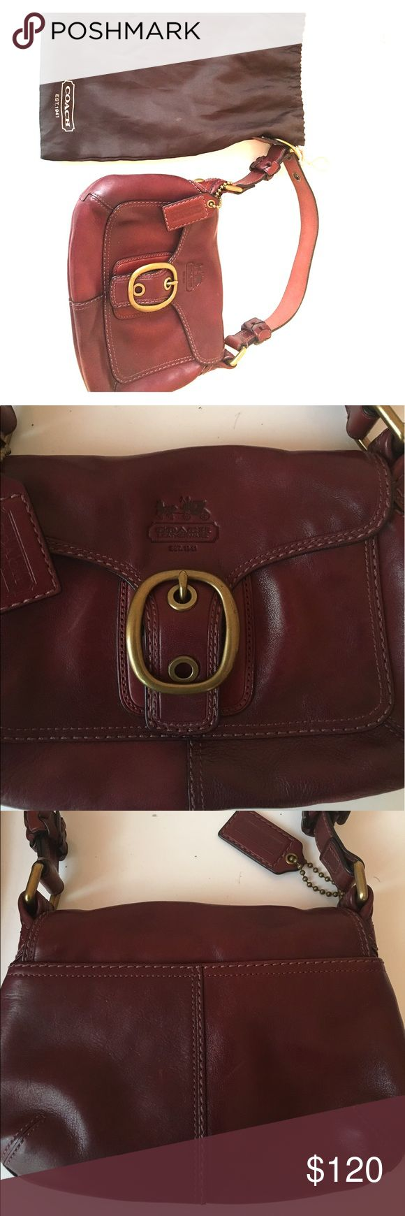 Coach leather mini shoulder bag Authentic, Color is wineberry, many compartments, snap closure, leather is great condition, comes with original dustbag, perfect for Fall ladies! Coach Bags Mini Bags