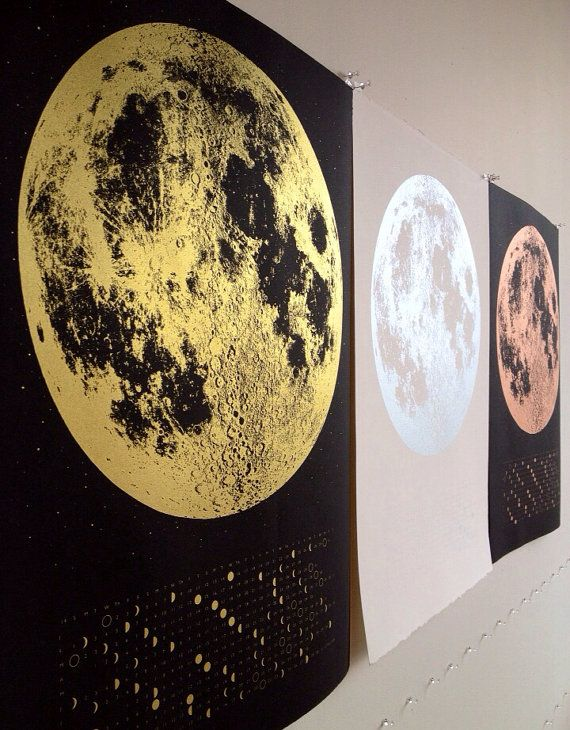 NEW 2016 Moon Phases Calendar, 22x30 large screen print, silver gold or copper print on black white, luna lunar wall art, space, stars