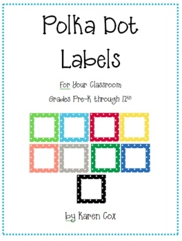A set of free printable polka dot labels for your classroom. Labels come in 10 colors plus a set of bold black dots.