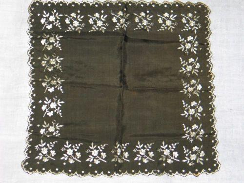 Excepcional-antigua-victoriana-Antique-Victorian-Panuelo-Panuelo-de-seda-de-1800s-bordado-a-mano