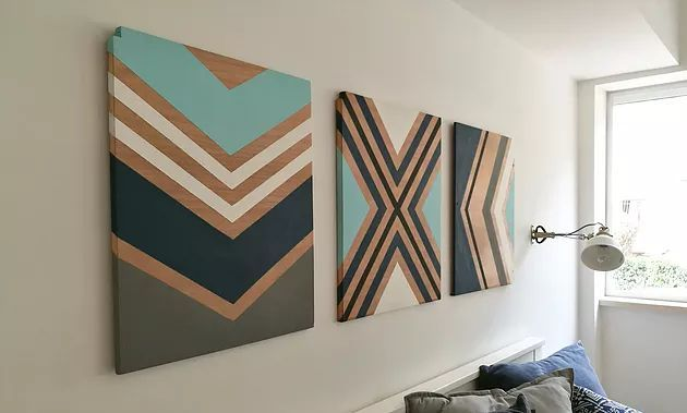 DIY rustikale Chevron Holz Wand Kunst Zeichen handgemachte Wandgestaltung #chevr…