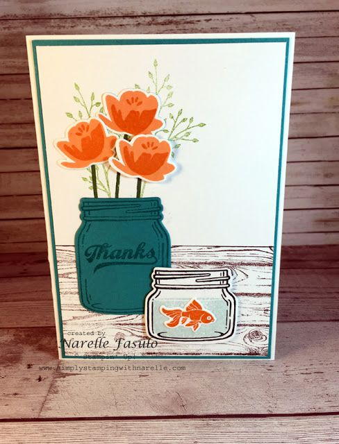 handmade thank you card ... Jar of Love by Narelle Fasulo on Simply Stamping with Narelle ... two jars ... one with flowers ... the other with a goldfish ... Stampin' Up!