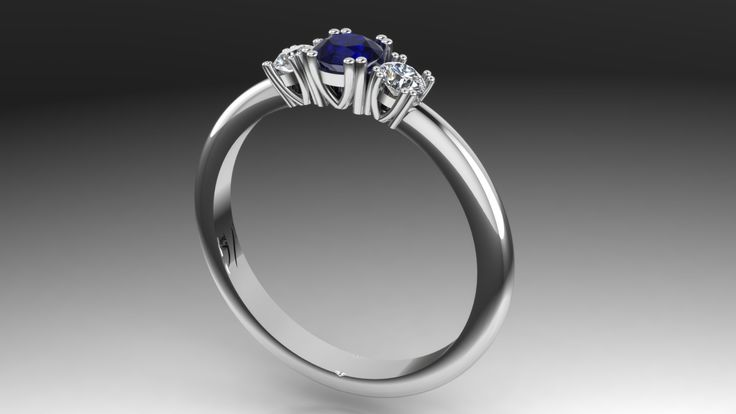 Classic Engagement ring whitegold saphire and diamonds Made for customer by Marleen van Kempen