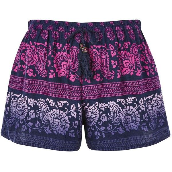 Matador Geometric Print Shorts by Band of Gypsies ($36) ❤ liked on Polyvore featuring shorts, purple and band of gypsies