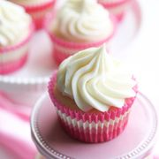 White Almond Sour Cream Cupcakes with Cream Cheese Frosting