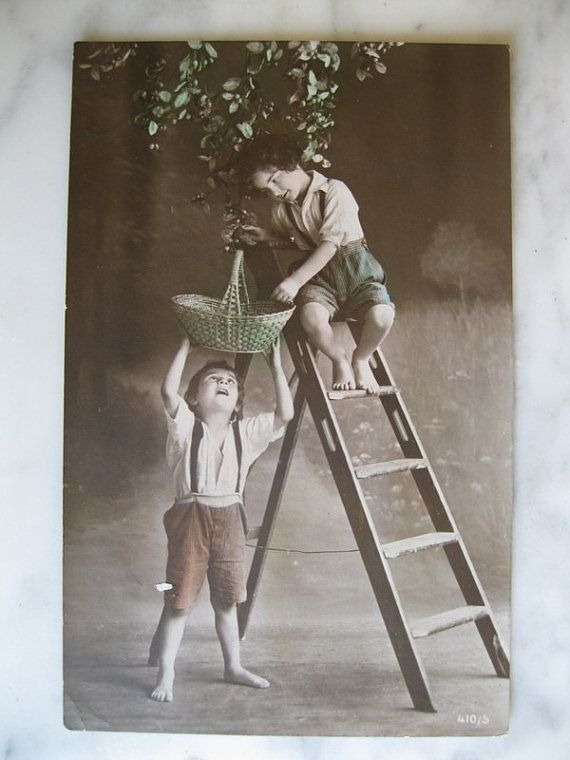 Antique  Photo Postcard Little boys picking by grandma62 on Etsy