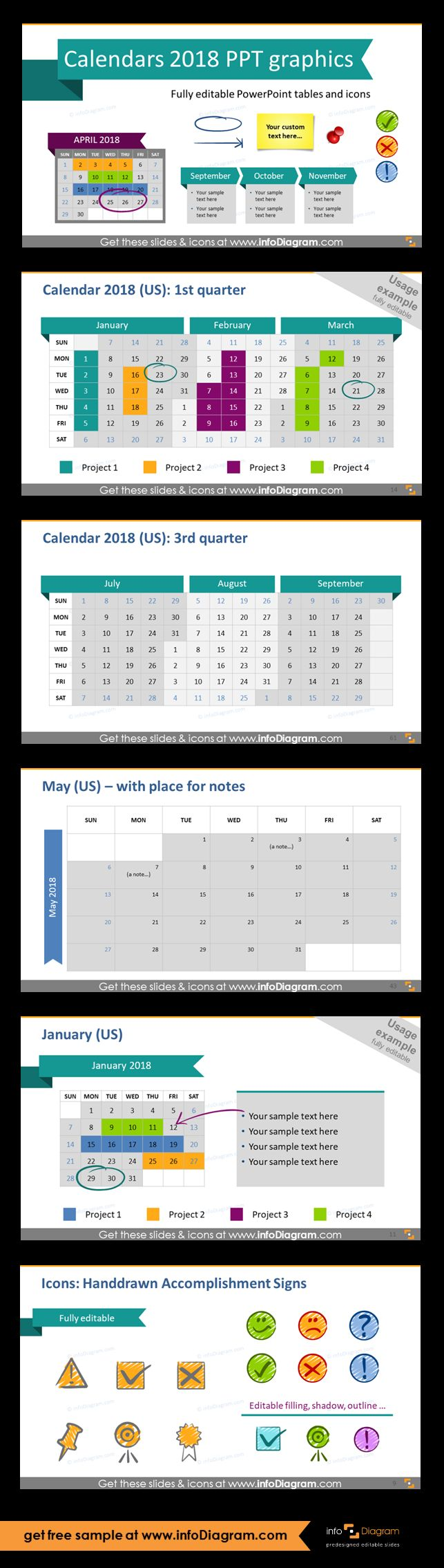 Predesigned 2018 Calendars and Timelines graphics editable in PowerPoint. Fully editable style, size and colors. Quarter calendar templates, one month calendar with place for notes and description, handdrawn accomplishment signs.