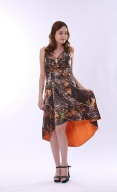 Sexy Halter Asymmetrical Camo Bridesmaid Dresses with Orange