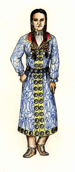 Laszlo's depiction of women's garb in conquest-era Hungary. I really like this overcoat and it's a leading design for Orsolya's garb.