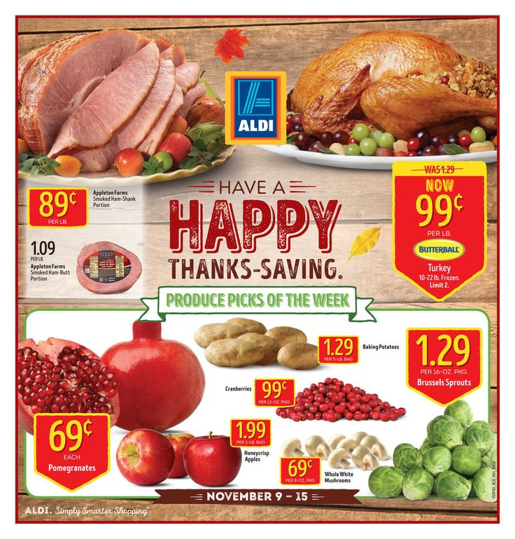 Aldi weekly ad Nov. 9 - 15 Have a happy thanks-saving. United States grocery circular