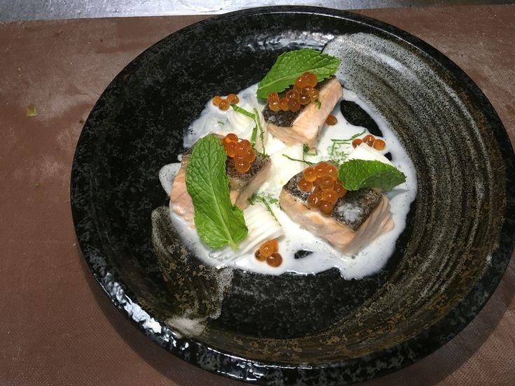 Steam salmon coconut mint sauce