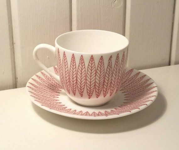 Vintage Stig Lindberg Salix small coffee cups, saucers from Gustavsberg, Sweden