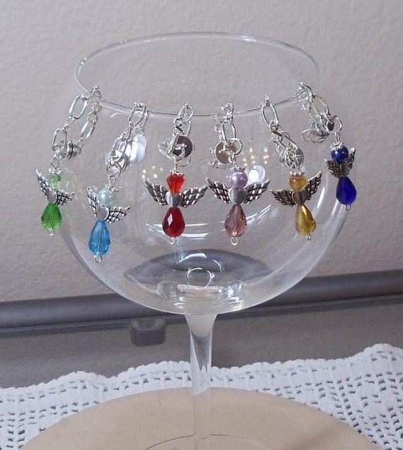 6 Handmade Magnetic Angel Wine Glass Charms Silver Plated Chain Multi Color Beads Red Blue Green Purple Topaz Wc50 Wine Glass Charms Wine Glass Wine Charms