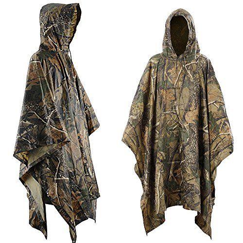 Aodoor Multifonction Camouflage militaire pluie Portable Emergency Poncho, étanche Poncho Ripstop , Camouflage à Chasse Équitation…
