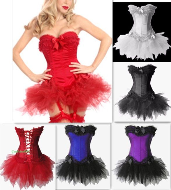 PLUS SIZE Womens Moulin Rouge Burlesque Overbust Corset & Tutu Skirt Fancy Dress #Unbranded #LaceUp
