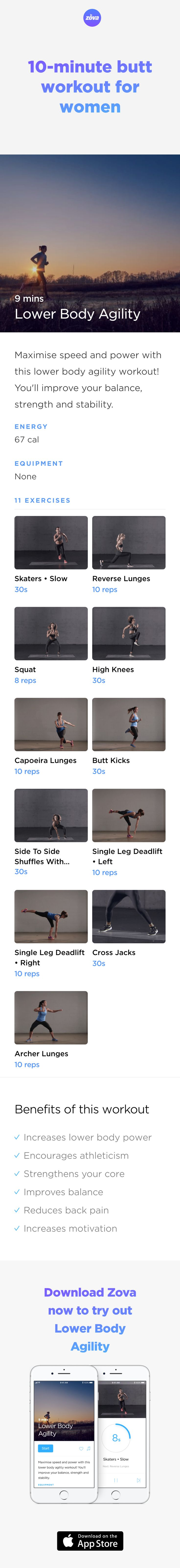 Channel your inner Beyonce and work your booty to the max! Creating a shapely behind is easy with this quick workout that'll lift your glutes for a rounder, tighter bottom. The perfect mix of glute exercises simultaneously works your core for better balance, reduced back pain and improved agility. #HIIT #workout #fitness #butt #booty