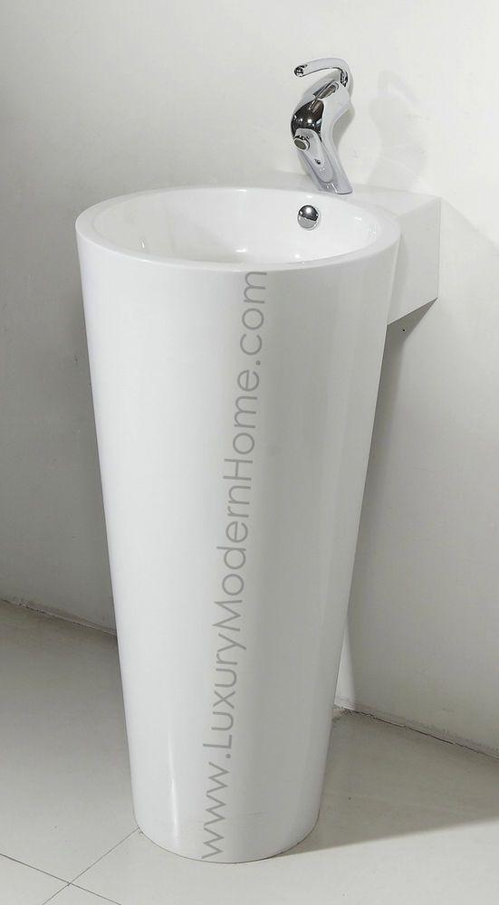 sink 17 18 Modern Bathroom Pedestal Sink Round Vase Cone