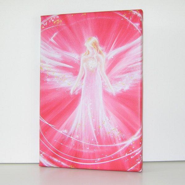 Titel: de kracht van de engel   -8 x 12 inch -afdrukken van een van mijn schilderijen beperkt. It´s een canvas afdrukken languit op houten frame.