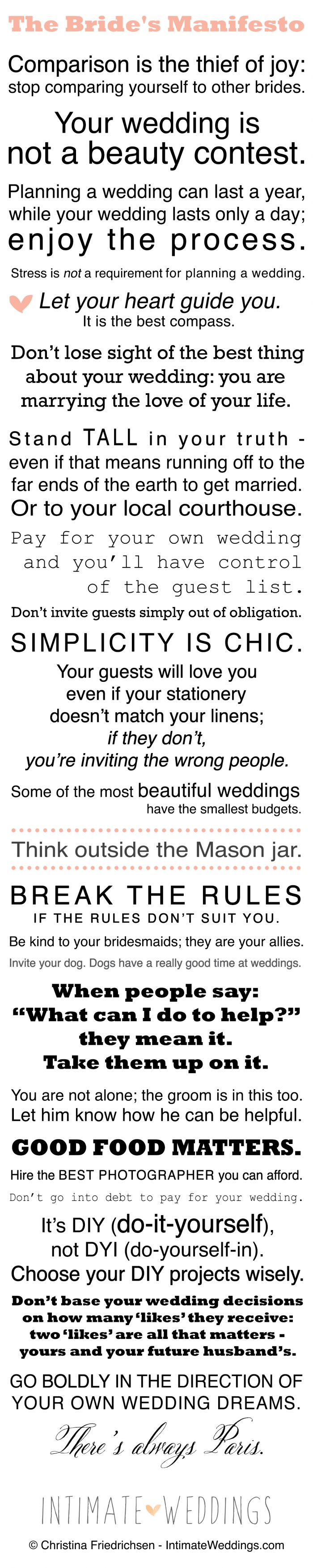 The Bride's Manifesto – How To Ward Off The Wedding Crazies