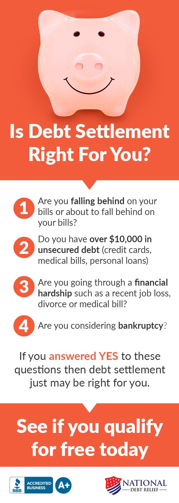 Drowning in debt? Thinking about bankruptcy? Drowning in debt can be a very stressful situation and there are several options to help you. See if #1 rated National Debt Relief can help for 2017. If you have over $10,000 in unsecured debt you can get a free quote to see how much you can save with no obligation. BBB A+ accredited with a 100% money back guarantee.