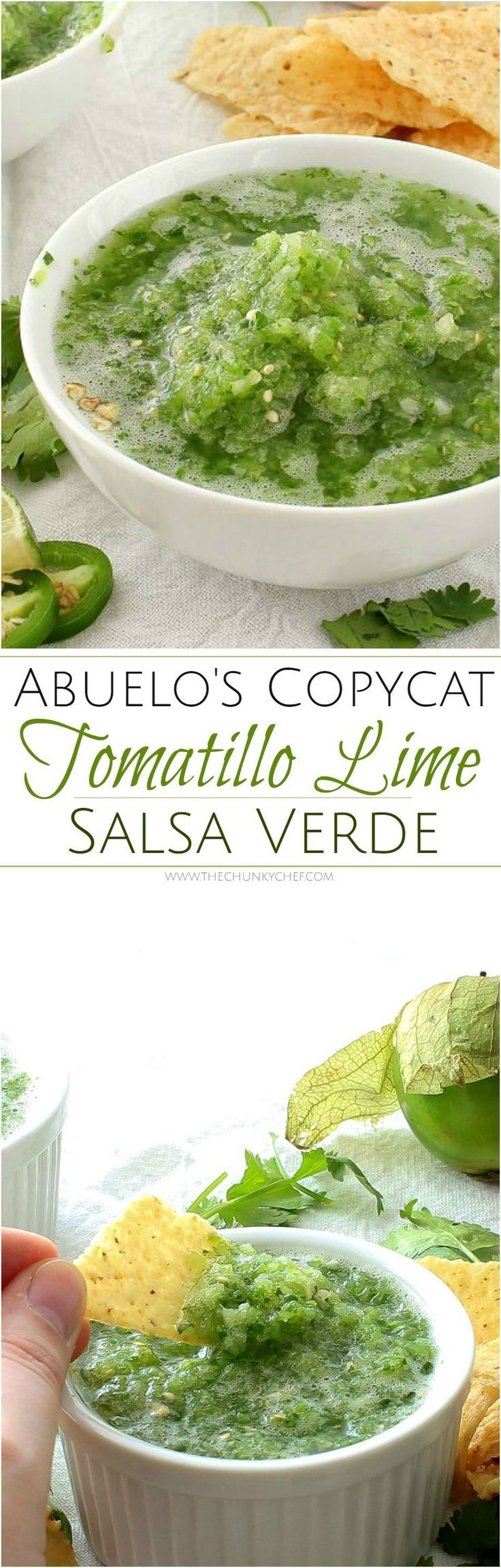 "Copycat Abuelo's Tomatillo Salsa | The Chunky Chef (http://thechunkychef.com) | This copycat of Abuelo's tomatillo salsa is so close, you'll think you're actually at the restaurant! Bright and fresh, this salsa is a ""must try""!"