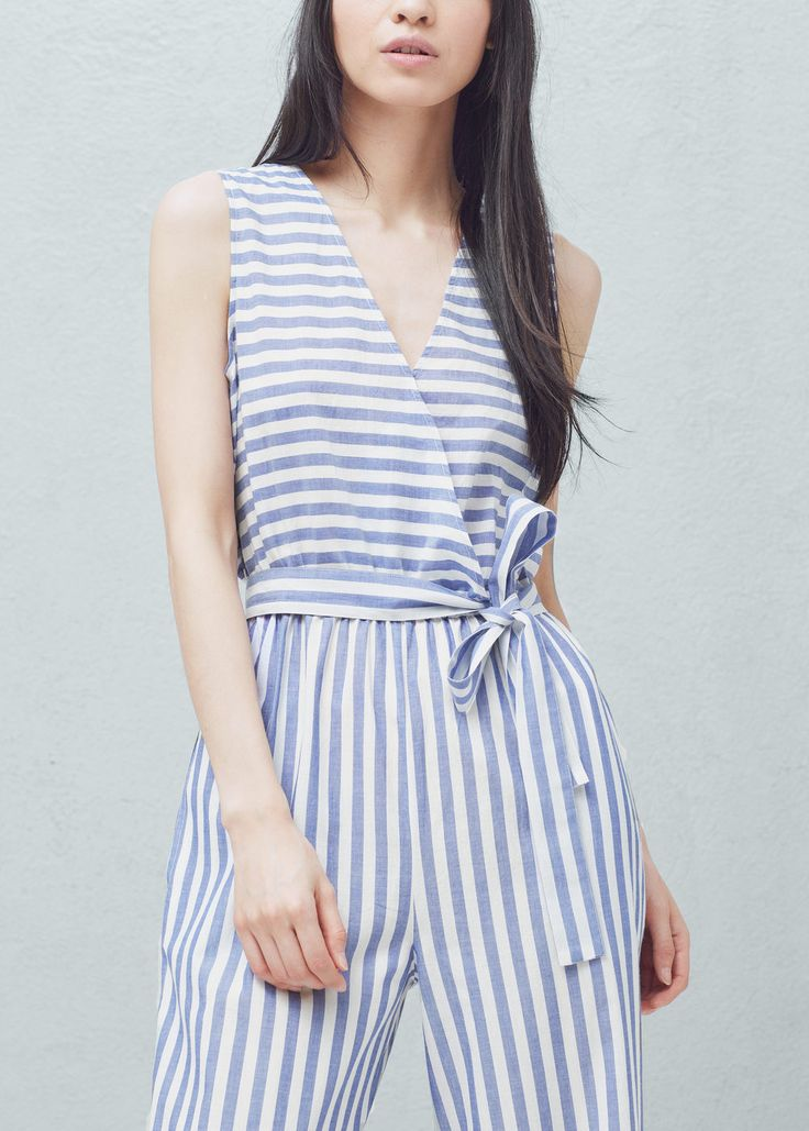 Striped cotton jumpsuit - Jumpsuits for Women | MANGO USA