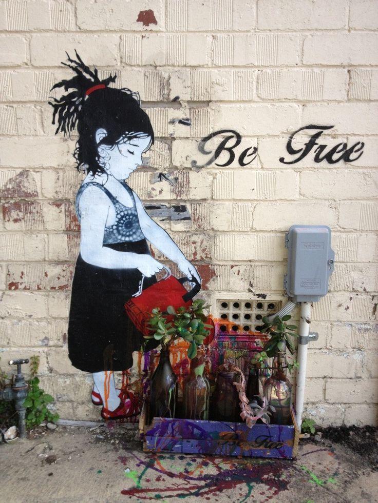Be Free! wall art  graffiti grafic paint street art