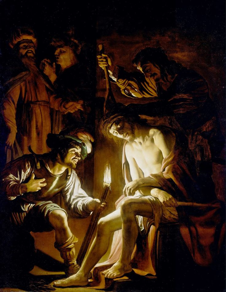 Gerrit van Honthorst - Christ Crowned with Thorns [1620]  #17th #Classic #Gerrit van #Honthorst #Jesus #Painting