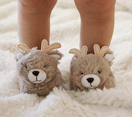 SOOOO CUTE!!! Nursery Fur Reindeer Slippers | Pottery Barn Kids