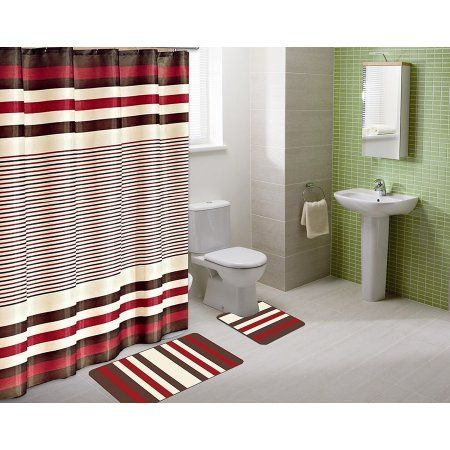 15pc BURGUNDY WINRY Bathroom Set Printed Banded Rubber Backing Rug Bath Mats With Fabric Shower Curtain & Hooks New Designs