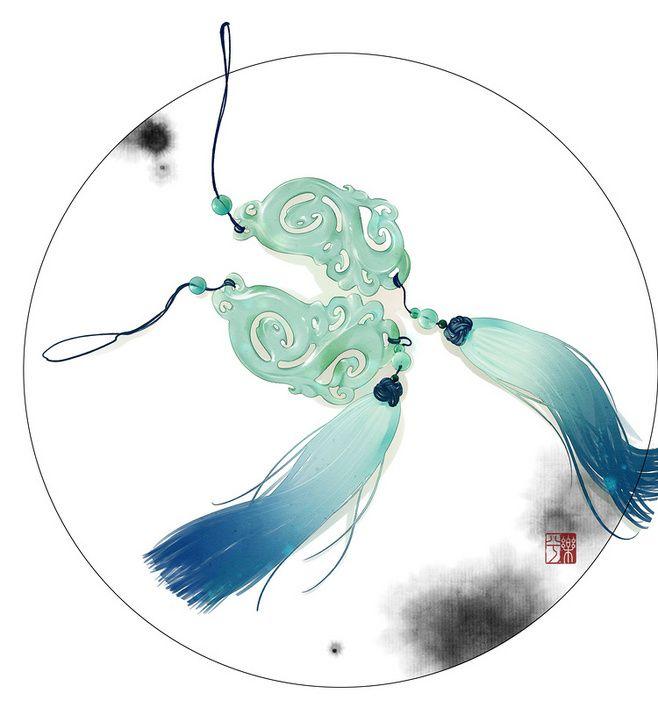 古风素材库-樂兮_古风,古物,水彩,水墨...