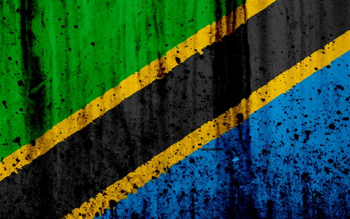 Download wallpapers Tanzania flag, 4k, grunge, flag of Tanzania, Africa, Tanzania, national symbols, Tanzania national flag