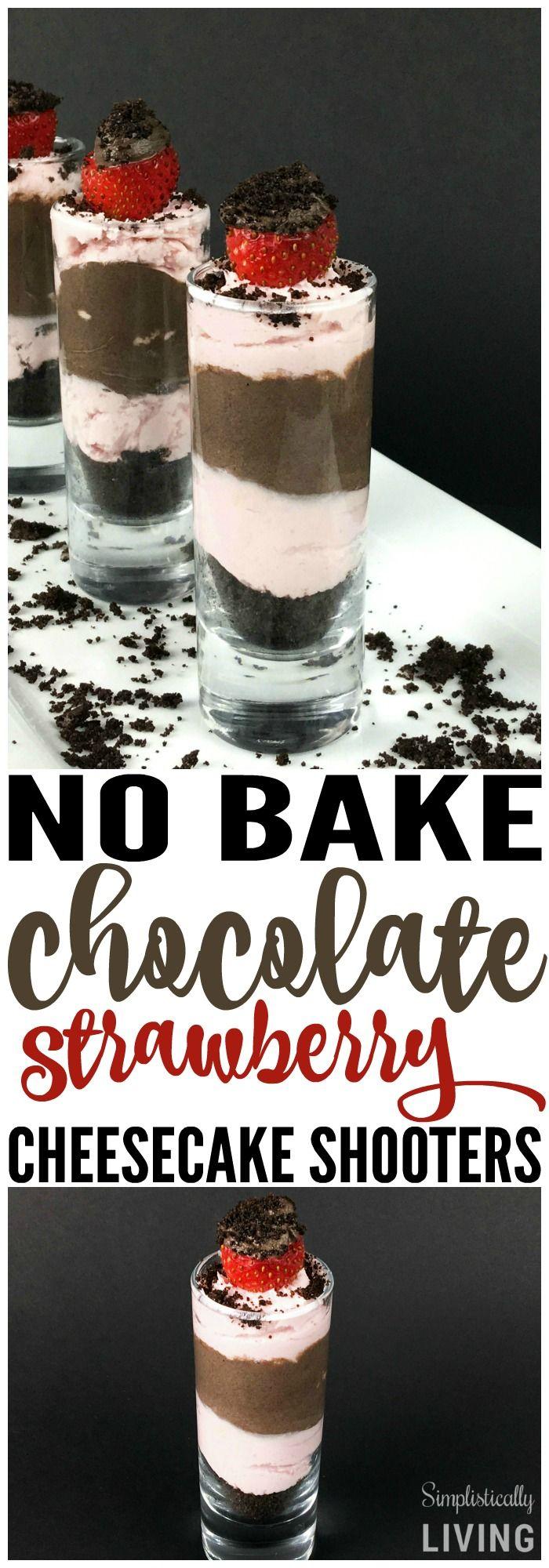 No Bake Chocolate Strawberry Cheesecake Shooters Simplistically Living