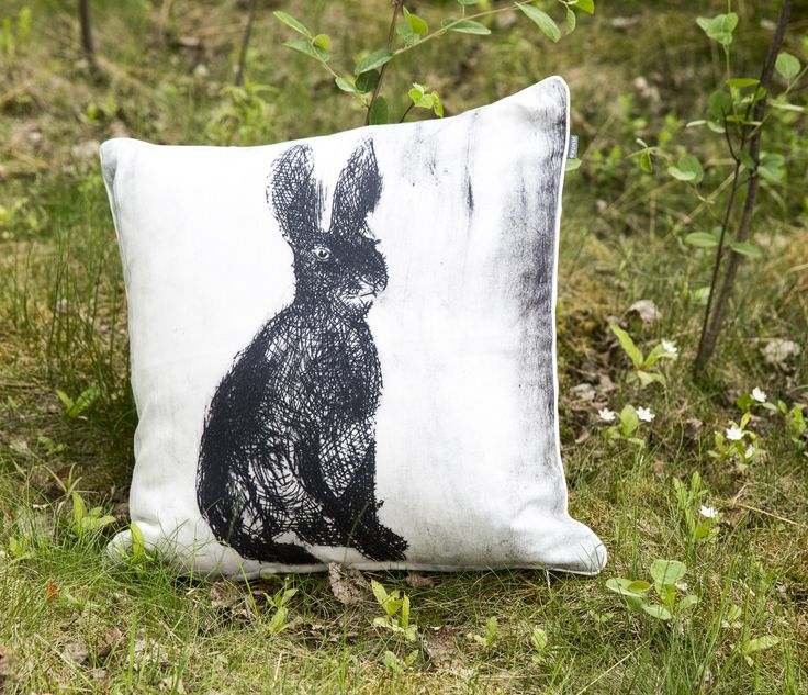 Fauna Cushion Cover Rabbit | Gorgeous Finnish animal figures decorate Fauna pillow cases designed by Lasse Kovanen.