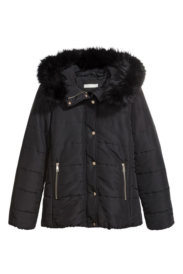 Black. Padded jacket with a lined, padded, faux fur-trimmed hood. Stand-up collar, wind flap at front with zip and snap fasteners, and diagonal side pockets