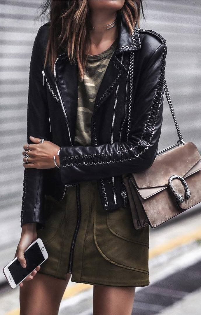 excellent leather jacket going out outfits 13