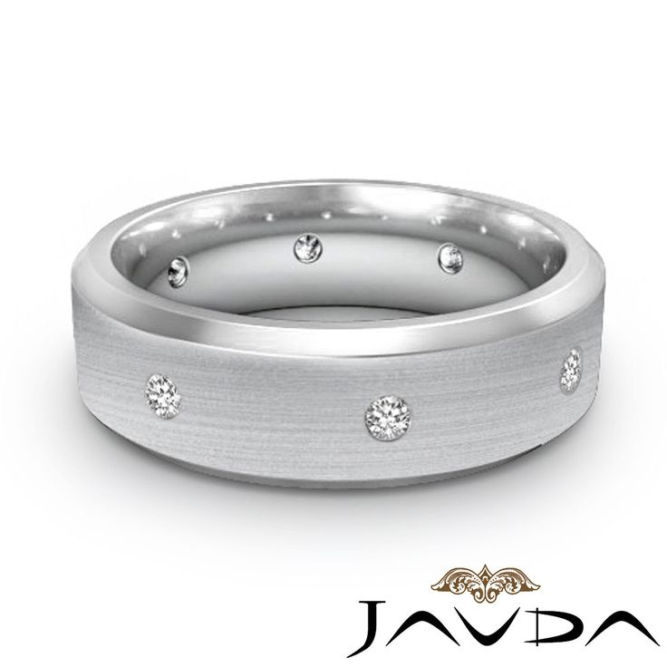 Round Cut Diamond Mens Eternity Ring Wedding Brushed Center Platinum Band 0 16ct | eBay