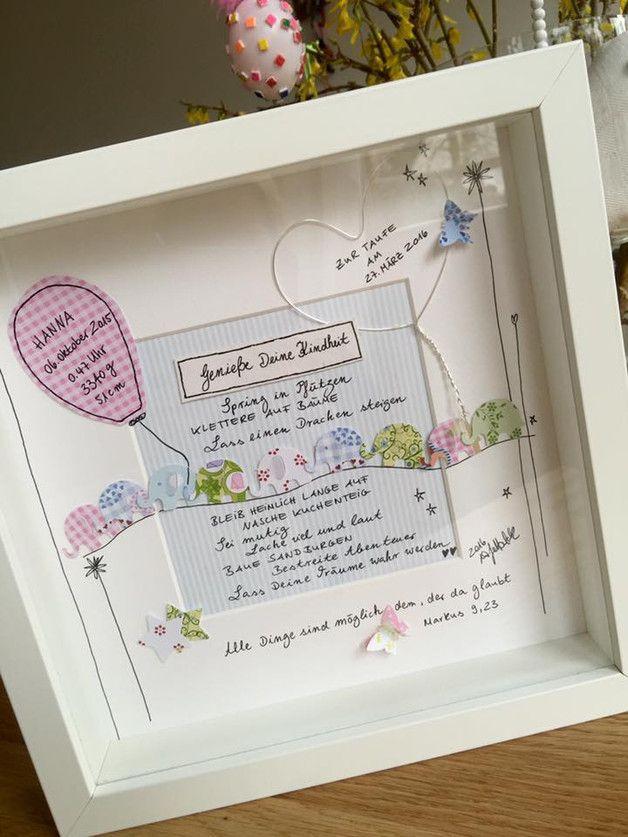 Personalisiertes Bild zur Taufe fürs Kinderzimmer Ob als Türschild, über der Wickelkommode oder zum Aufstellen im Spielzeugregal, diese Bilder sind sehr persönlich!! Jedes ist ein...