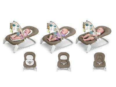 La sdraietta Hooplà è dotata di riduttore modulabile e poggiatesta regolabile in 3 diverse posizioni, per seguire la crescita del bambino in ogni sua fase, da 0 a 6 mesi. Quando il bambino cresce, cuscino e riduttore possono essere rimossi. Il comfort è assicurato!