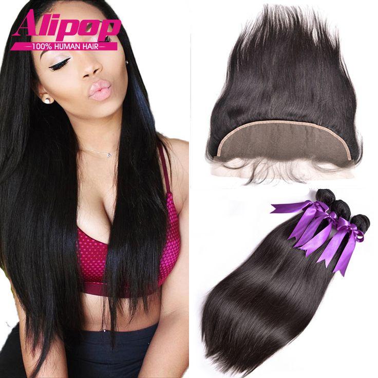 7A Peruanisches Reines Haar Mit Verschluss, 13x4 Ohr Zu Ohr Spitze-stirn Schliessen Mit Bundles, Peruanische gerade Menschenhaar Mit Verschluss