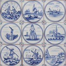 3801 Portuguese Delft loose designs tile