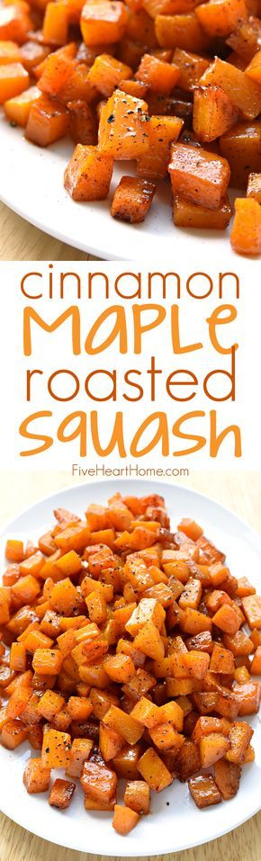 Cinnamon Maple Roasted Squash ~ vitamin-packed butternut squash is coated with coconut oil, maple syrup, and cinnamon, then roasted until tender and sweet for a gorgeous, golden fall or winter side dish!   FiveHeartHome.com