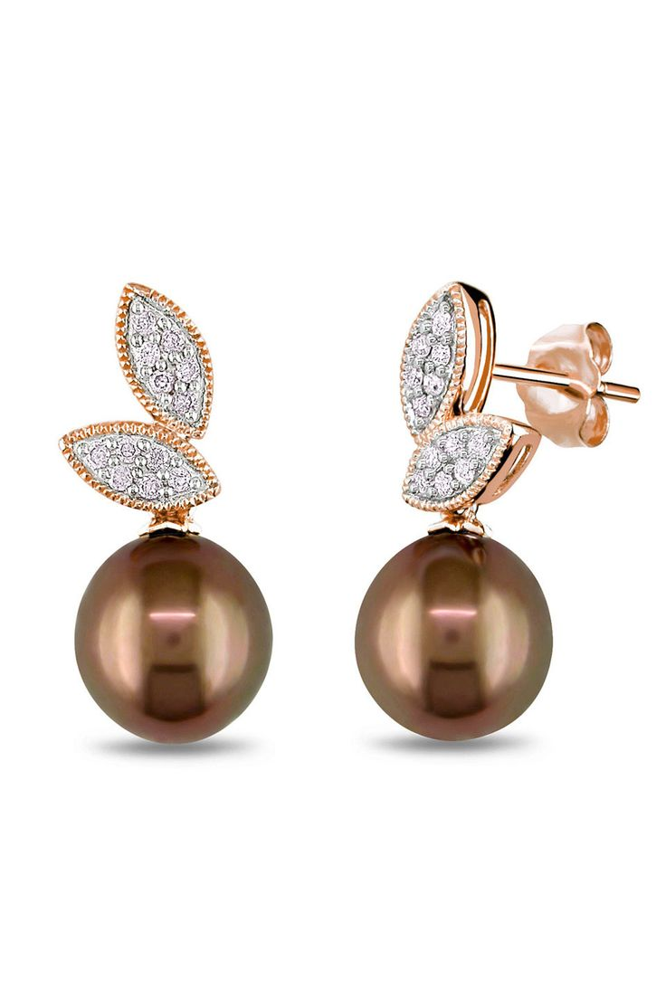 Tahitian Pearl 885 Mm Choc Tahitian Pearl & 014 Ct Diamond Earrings