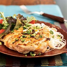 Chicken with Sherry-Soy Sauce | Serve this Asian-inspired chicken recipe with bagged salad greens and quick-cooking rice noodles for an easy meal.