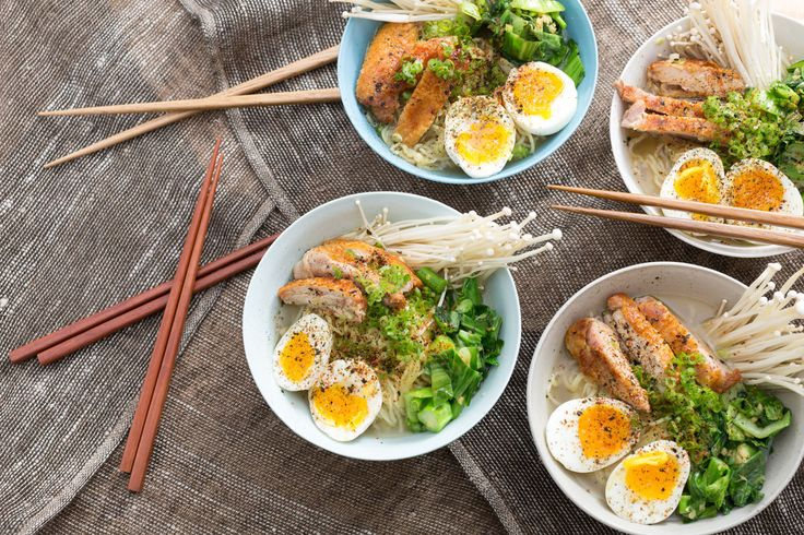 Winter Chicken Ramen with Choy Sum, Soft-Boiled Eggs & Miso Broth